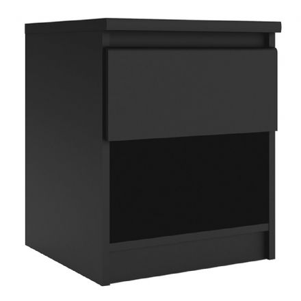 Bedside - 1 Drawer 1 Shelf in Black Matt